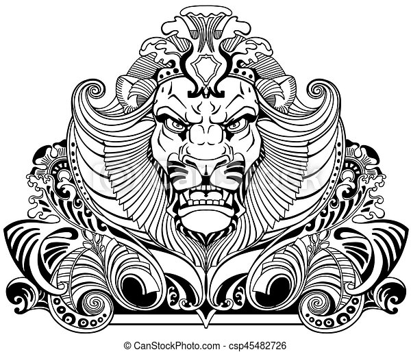 head of lion black white tattoo head of lion king front view