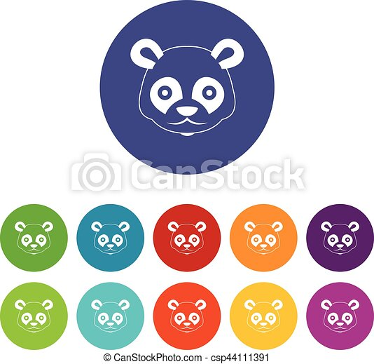 Head of panda set icons - csp44111391
