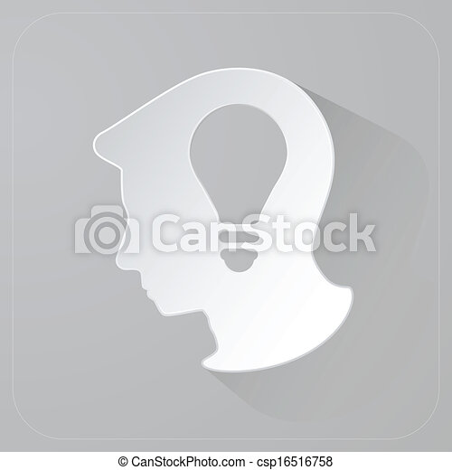 Head Of Person Thinking Idea Light Bulb In Paper Vector