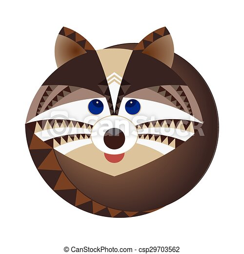 Head of raccoon, decorative geometric stylization - csp29703562