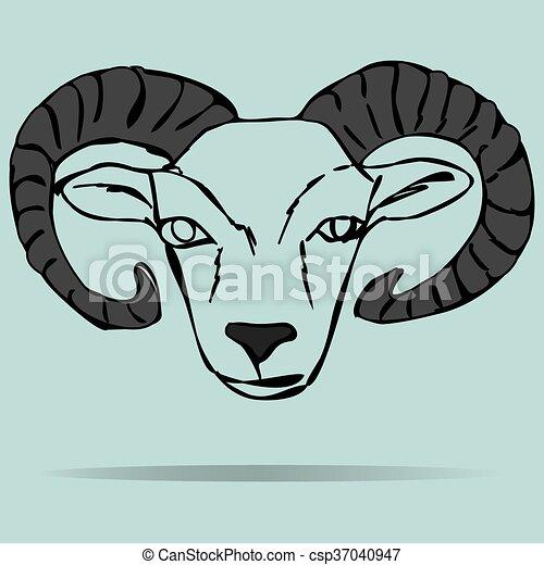 Head of ram mascot - csp37040947