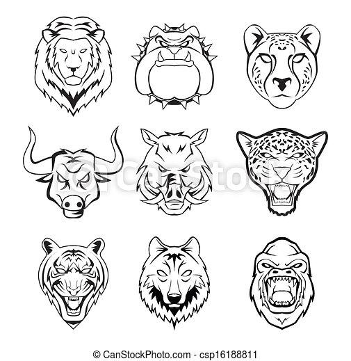 head of wild animal group - csp16188811