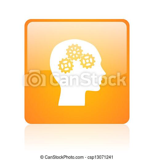 head orange square glossy web icon - csp13071241
