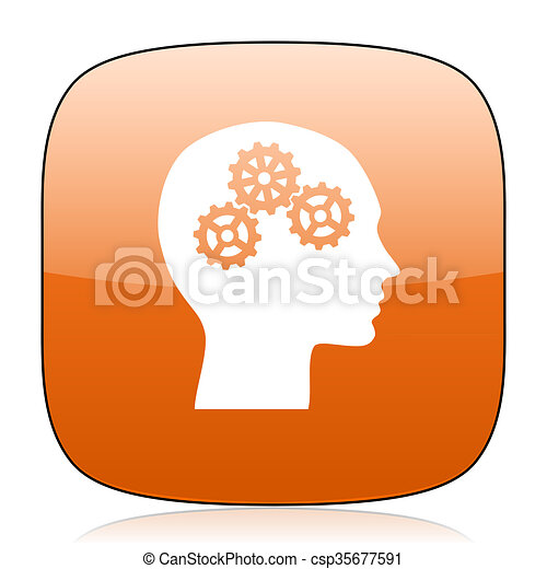 head orange square web design glossy icon - csp35677591