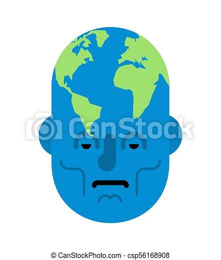 head planet earth world map on head vector illustration