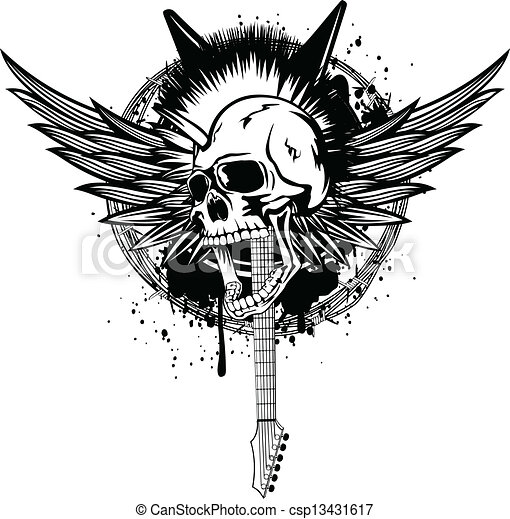 Head punk with wings. Vector illustration skull punk with wings ...