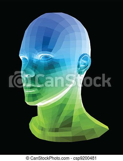 Cabeza humana. Ilustración de vectores abstractos - csp9200481