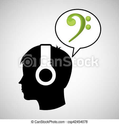 Head Silhouette Listening Music Symbol Vector Illustration Eps 10