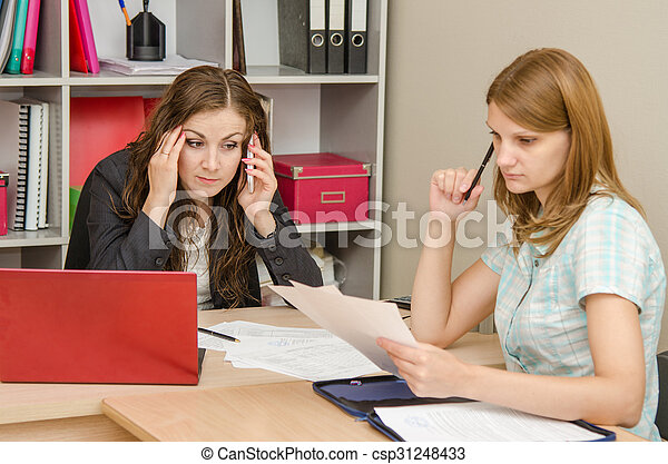 Head solve the problem over the phone, anxiously awaiting employee - csp31248433