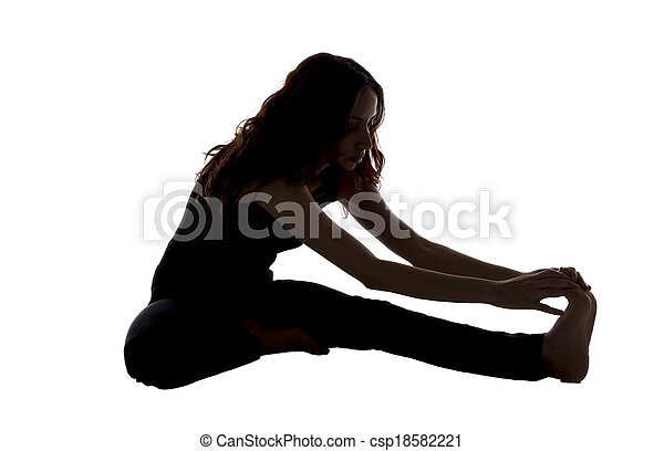 head to knee pose in yoga in silhouette woman is doing