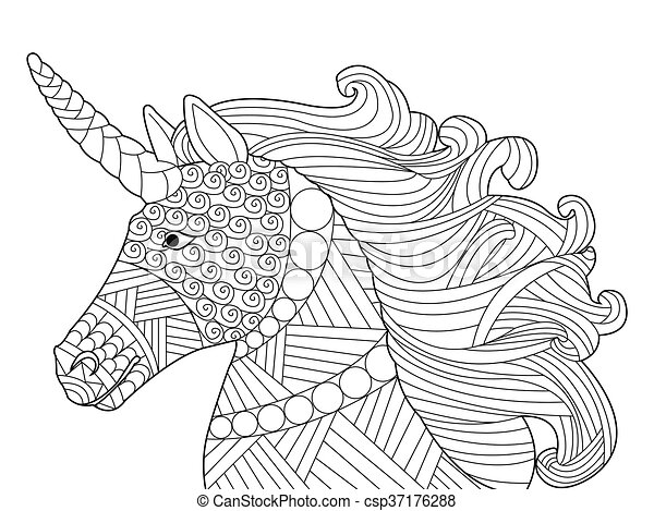Head unicorn coloring vector for adults - csp37176288