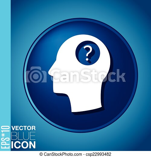 Head with a question mark. Avatar wonders. Icon help - csp22993482
