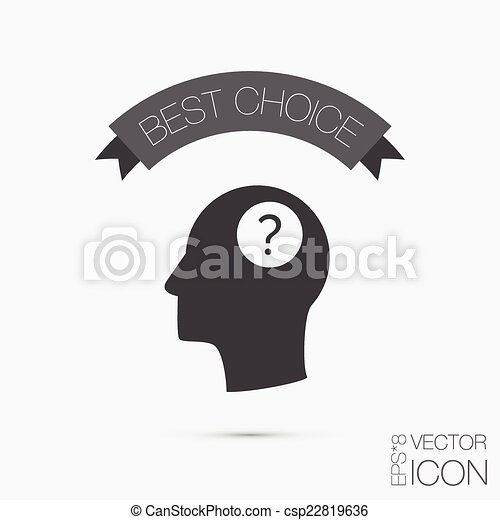 Head with a question mark. Avatar wonders. Icon help - csp22819636