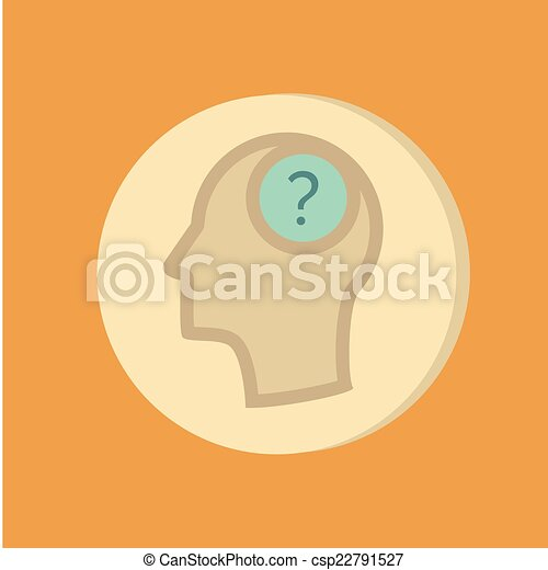 Head with a question mark. Avatar wonders. Icon help - csp22791527