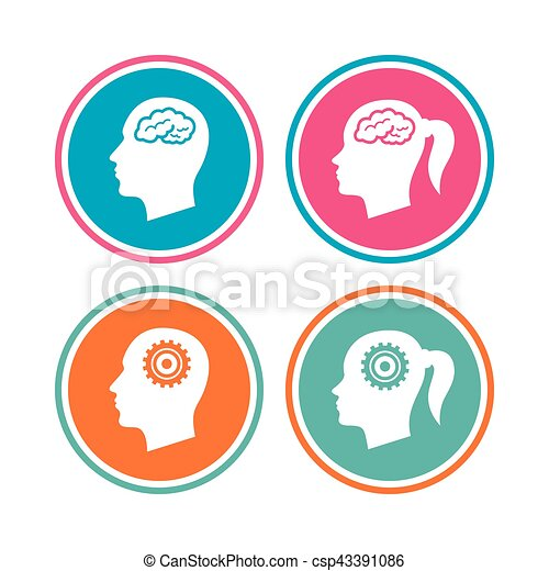 Head with brain icon. Male and female human symbols. - csp43391086