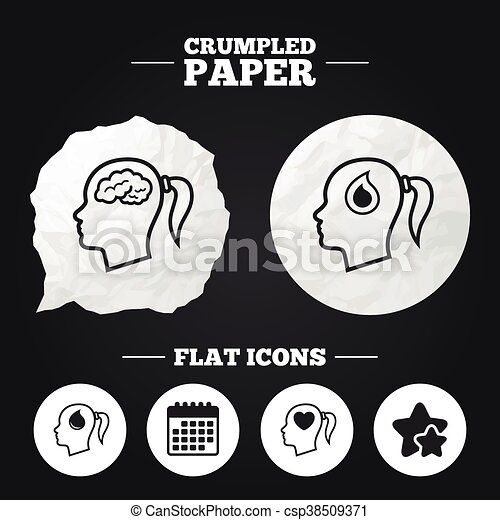 Head With Brain Iconfemale Woman Symbols Crumpled Paper Speech