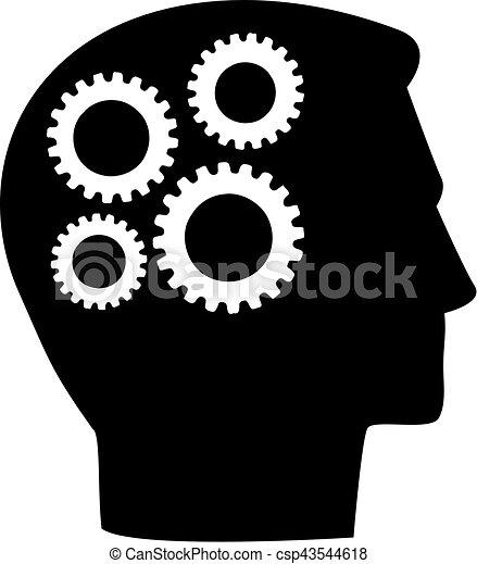 Head with gear wheels in brain - csp43544618