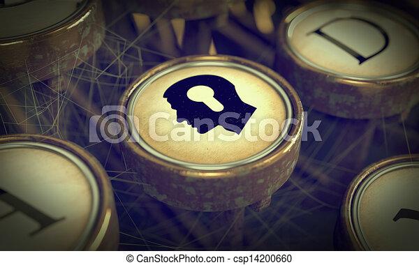 Head With Keyhole on Grunge Typewriter Key. - csp14200660
