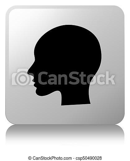 Head woman face icon white square button - csp50490028