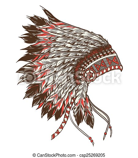 Headdress Americano Indio Ilustracao Chefe Vetorial Nativo