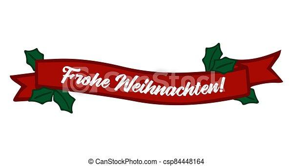 header., alegre, frohe, weihnachten, cartel, o, cita, bandera, navidad., celebración, alemán, letras, translated, invitation., tarjeta - csp84448164