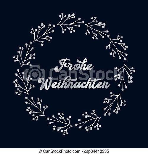 header., alegre, frohe, weihnachten, cartel, o, logotipo, cita, navidad., celebración, alemán, letras, translated, invitation., tarjeta - csp84448335