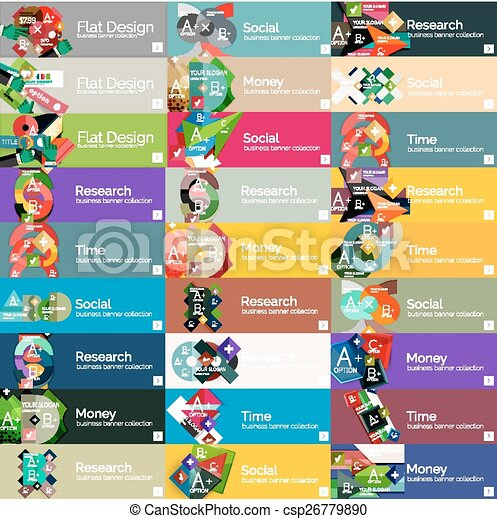 Headers, flat design option infographic banners - csp26779890
