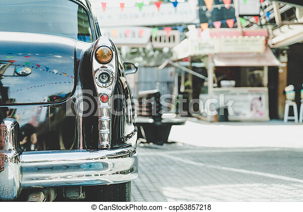 Headlight lamp of vintage classic car - csp53857218