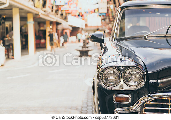 Headlight lamp of vintage classic car - csp53773681