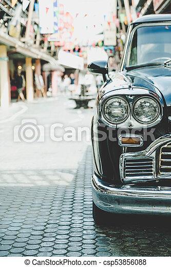 Headlight lamp of vintage classic car - csp53856088