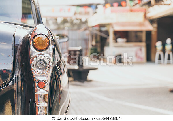 Headlight lamp of vintage classic car - csp54423264