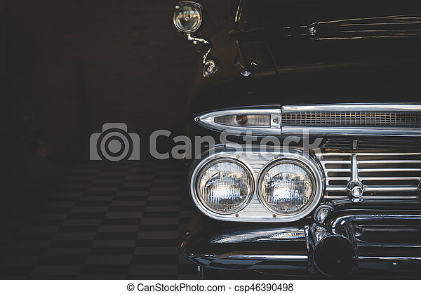 Headlight lamp vintage classic car - csp46390498
