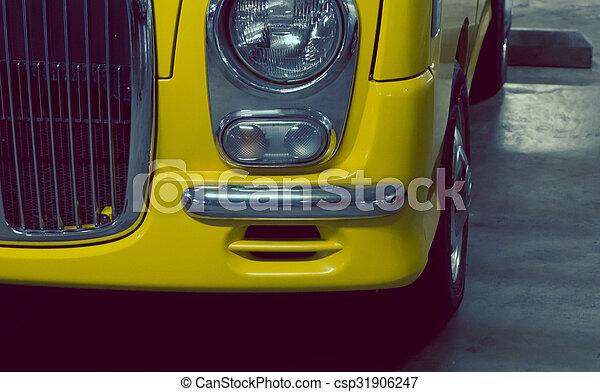 Headlight lamp yellow vintage classic car - csp31906247