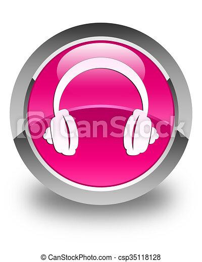 Headphone icon glossy pink round button - csp35118128