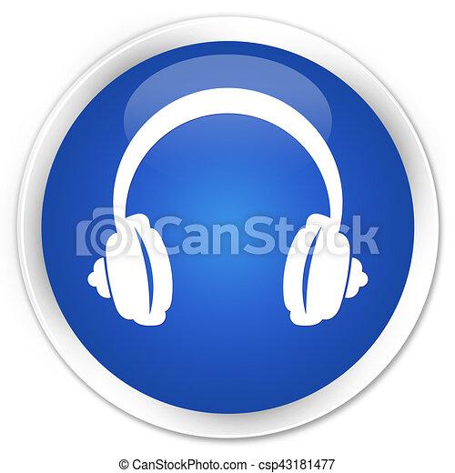 Headphone icon premium blue round button - csp43181477