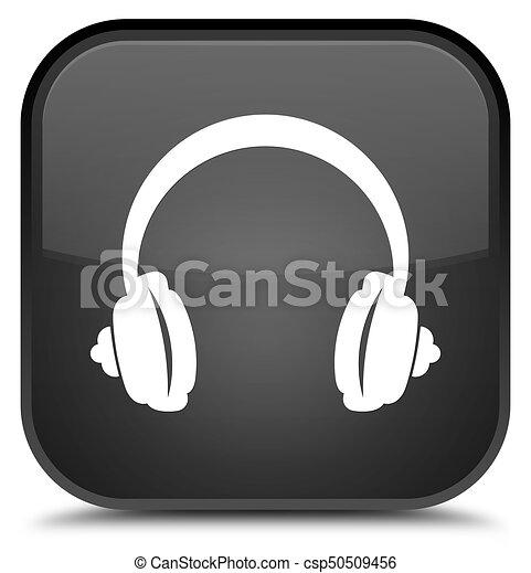 Headphone icon special black square button - csp50509456