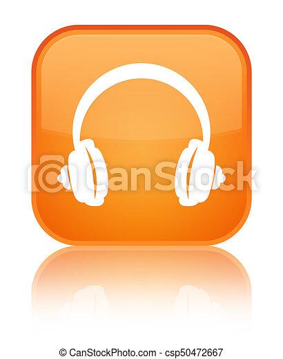 Headphone icon special orange square button - csp50472667