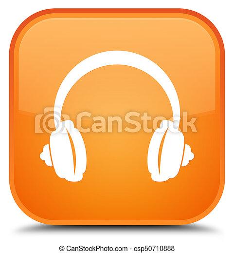 Headphone icon special orange square button - csp50710888