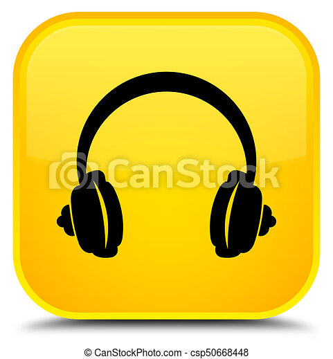 Headphone icon special yellow square button - csp50668448