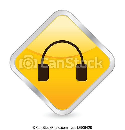 headphone yellow square icon - csp12909428