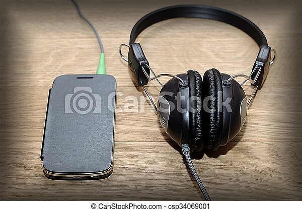 Headphones And Phone Vintage Photos Listen To Music