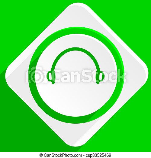 headphones green flat icon - csp33525469