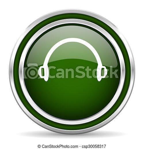 headphones green glossy web icon - csp30058317