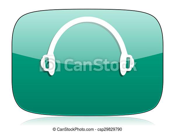 headphones green icon - csp29829790