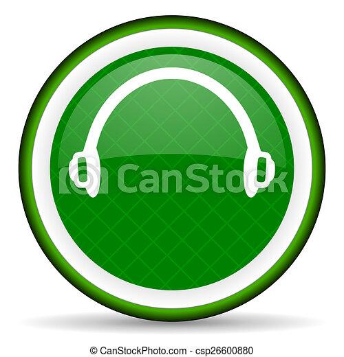 headphones green icon - csp26600880