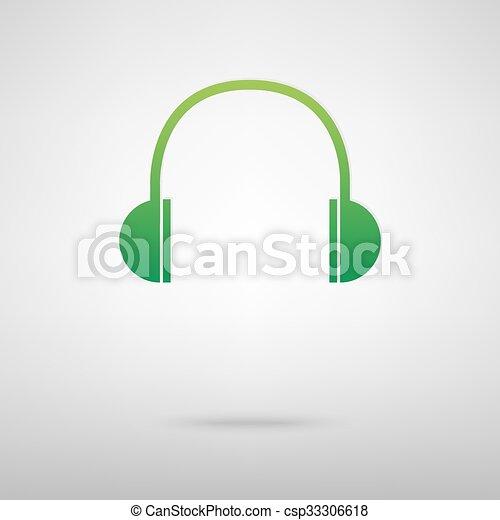 Headphones. Green icon - csp33306618