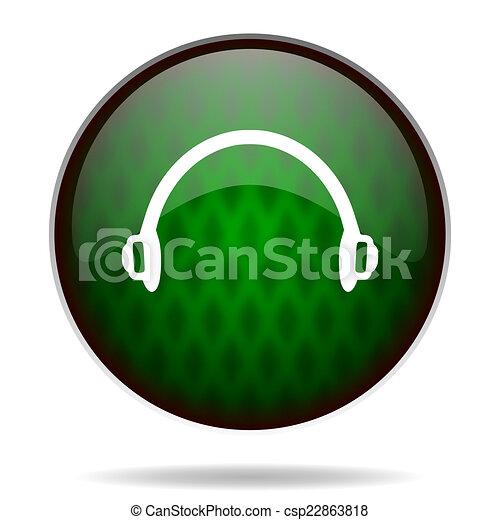 headphones green internet icon - csp22863818