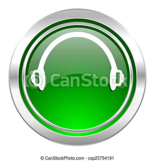 headphones icon, green button - csp23754191