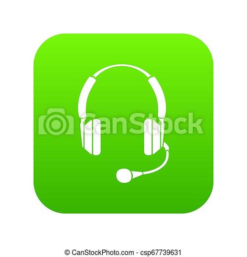 Headphones icon green - csp67739631