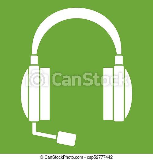 Headphones icon green - csp52777442